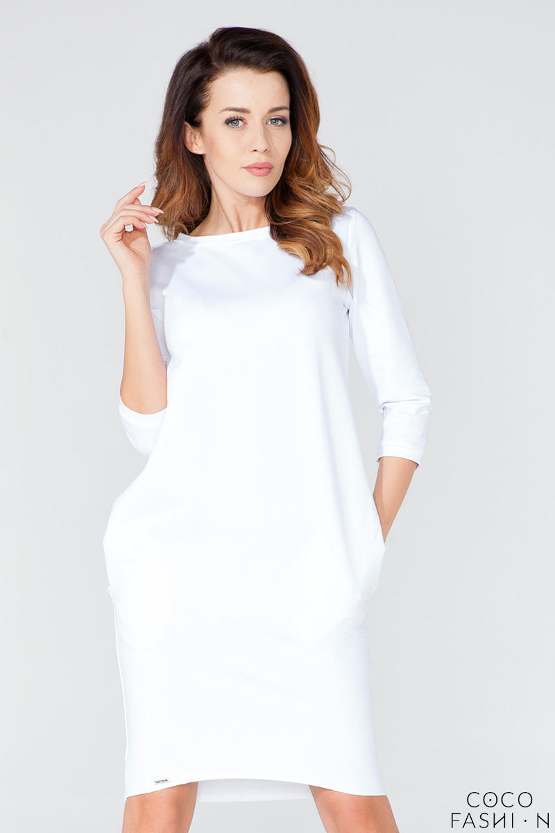 White Classic Plain 3/4 Sleeves Knee Length Casual Dress