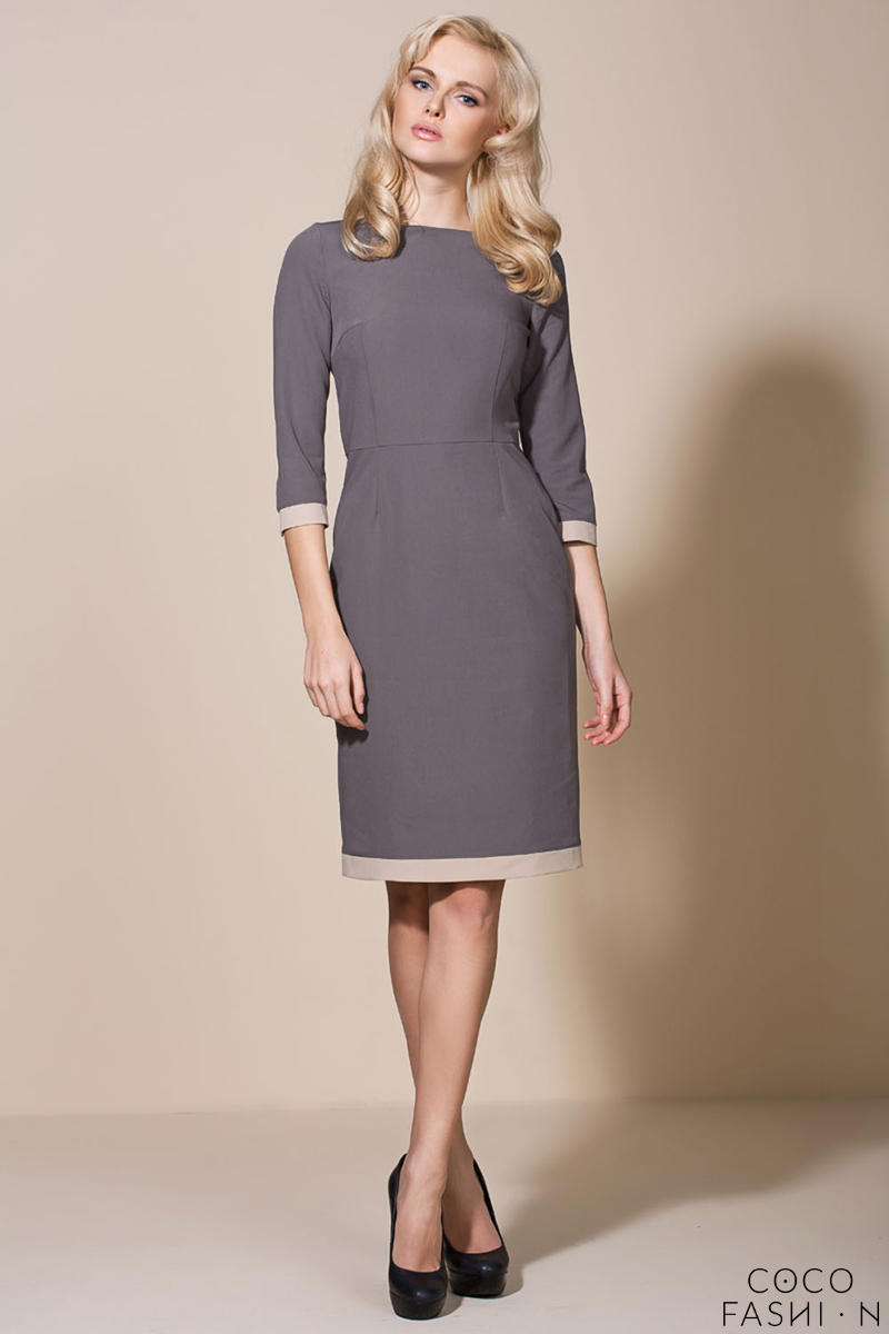 Coffee-Purple Corporate Look Chic Dress