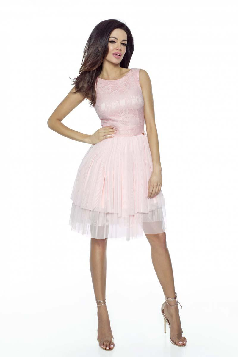 Pink Prom Dress with Lace top and Tulle