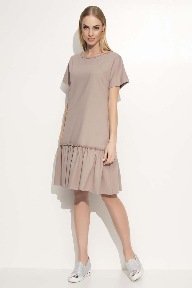 Cappuccino Loose Cut Dress with a Frill