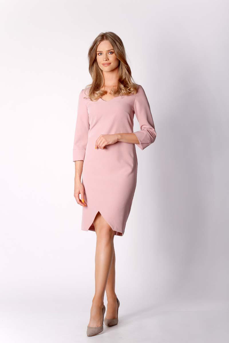Pink Classic Simple Dress with Asymmetrical Zipper
