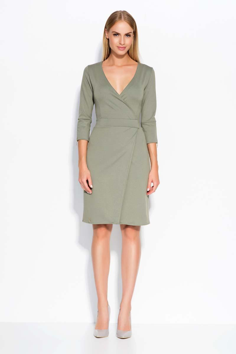 Olive Green Deep V-Neckline Dress