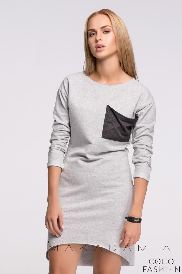Light Grey Asymmetrical Casual Dress with Contrasting Pocket от cocofashion