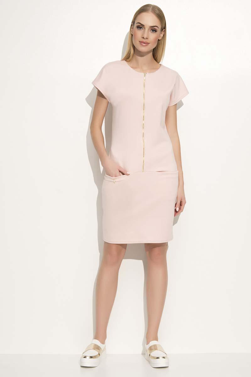 pink-casual-dress-with-a-zipp