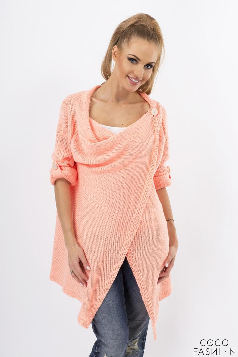 Apricot Stylish One Button Rolled-up Sleeves Cardigan