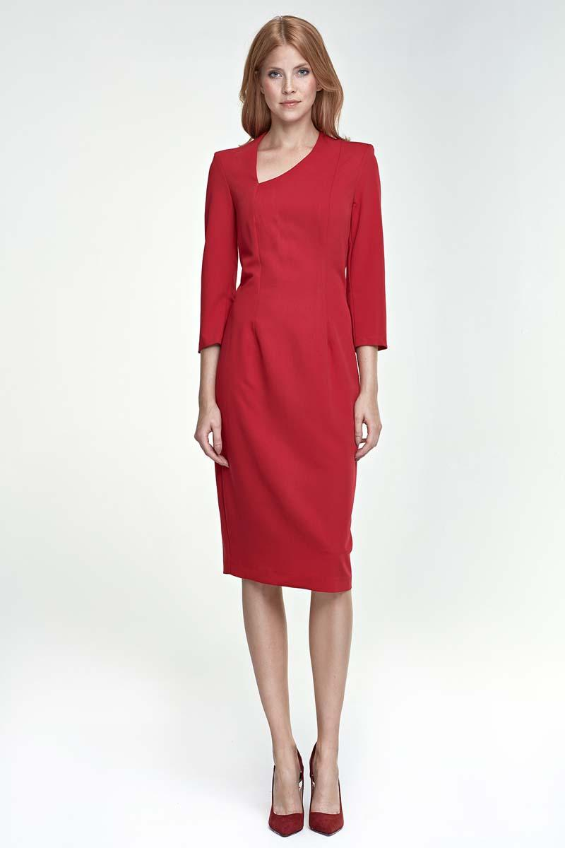 Red Pencil Dress with Asymetrical Neckline