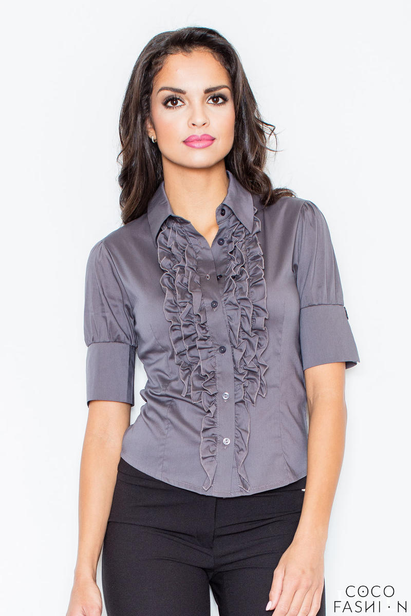 Grey Vintage Collared Blouse with Ruffled Details and Wide Cuffs