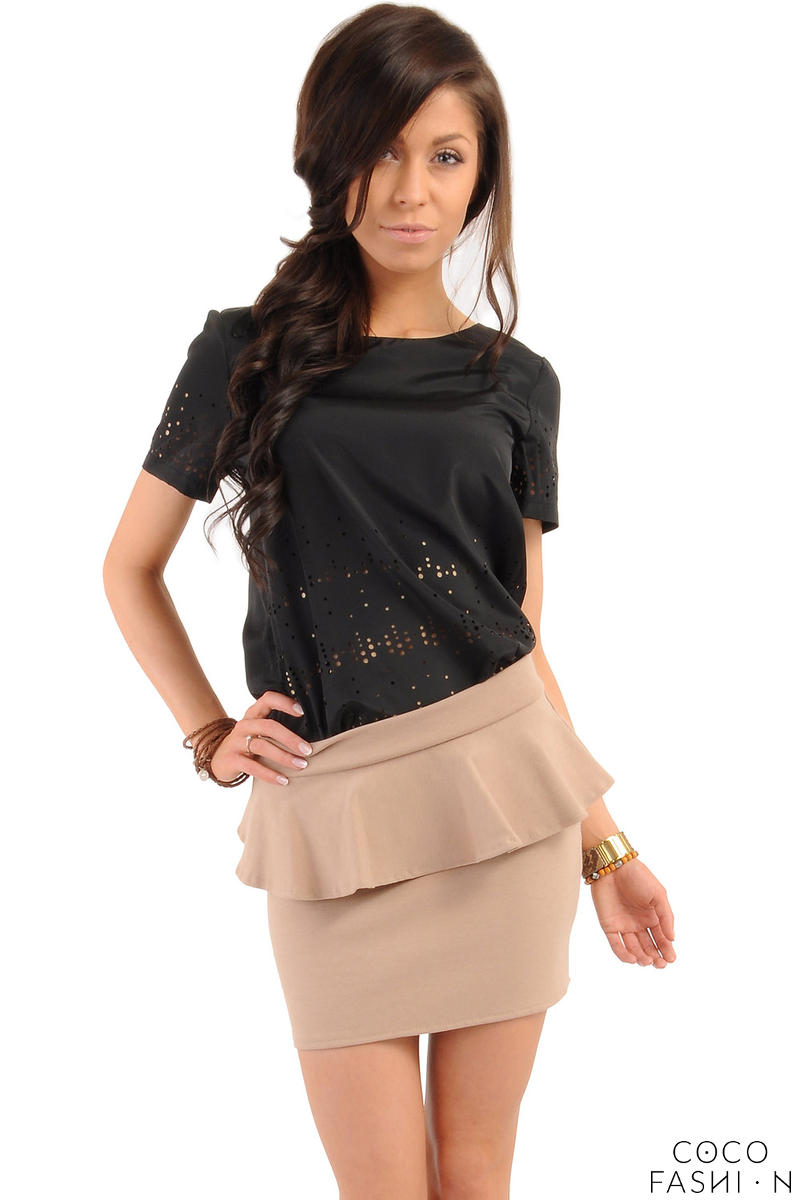 Cappuccino Tiered Mini Skirt with Back Gold Zip Fastening