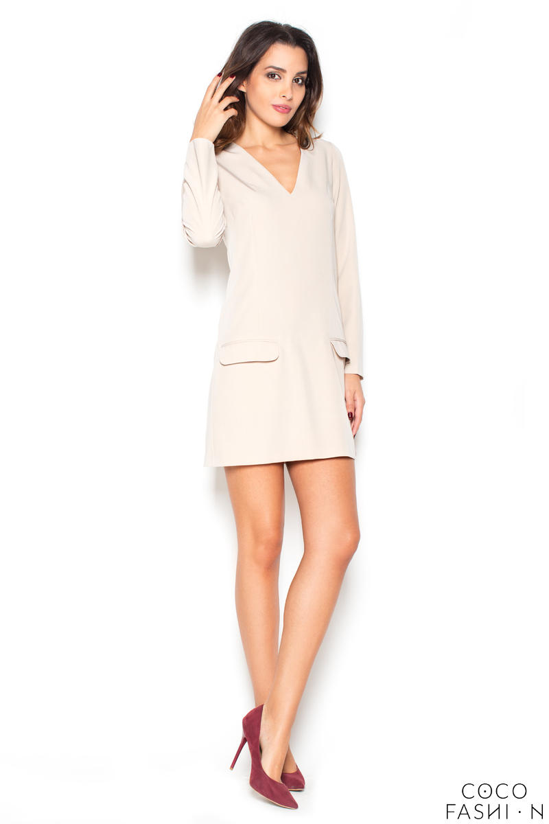 Beige Flared 3/4 Sleeves V-Neckline Mini Dress