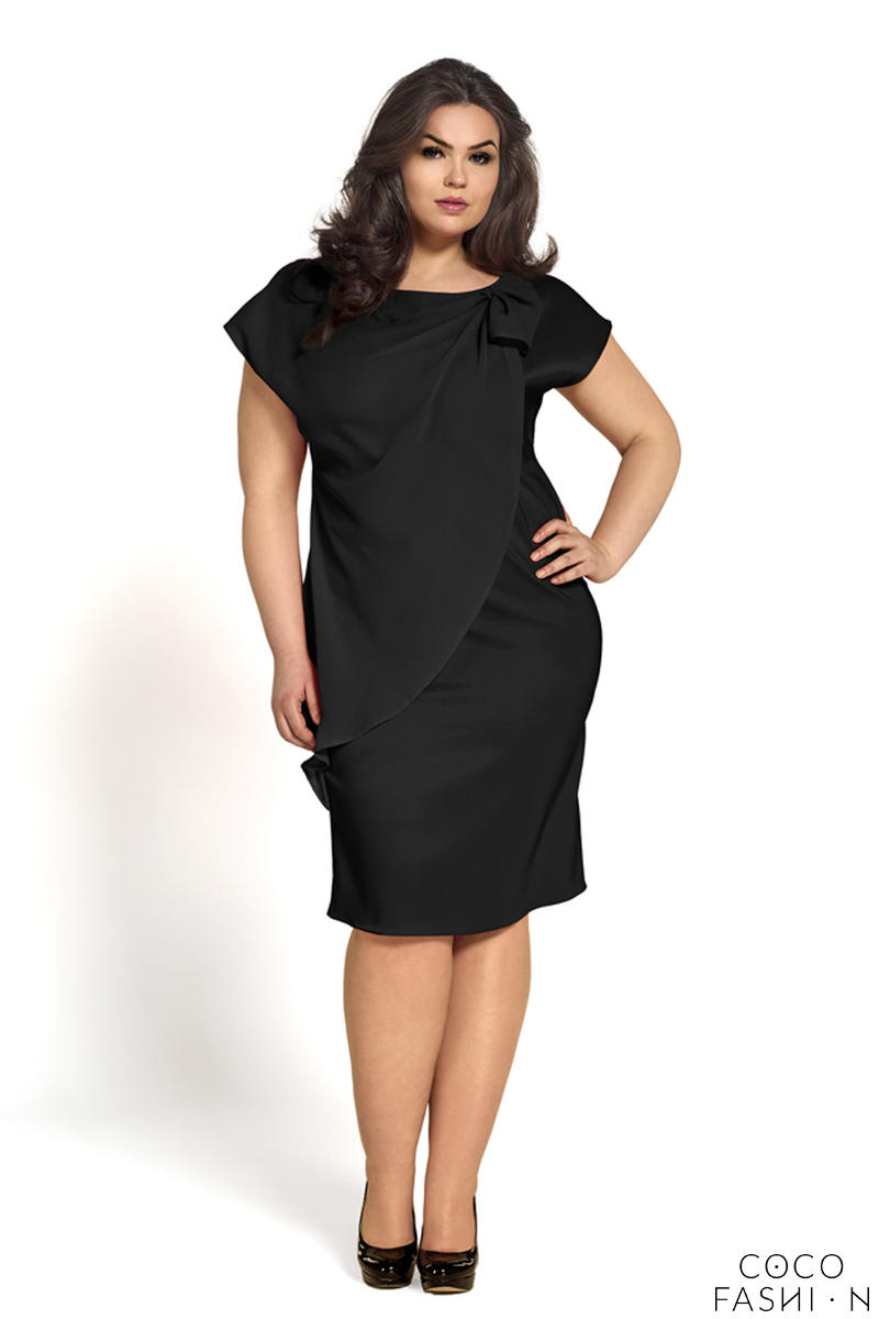 Black Evening Short Sleeves Dress PLUS SIZE