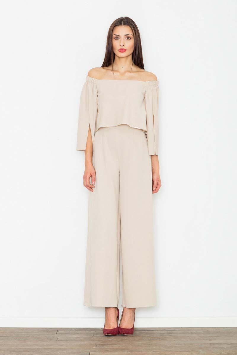 Beige Elegant Off-Shoulders Ladies Jumpsuit
