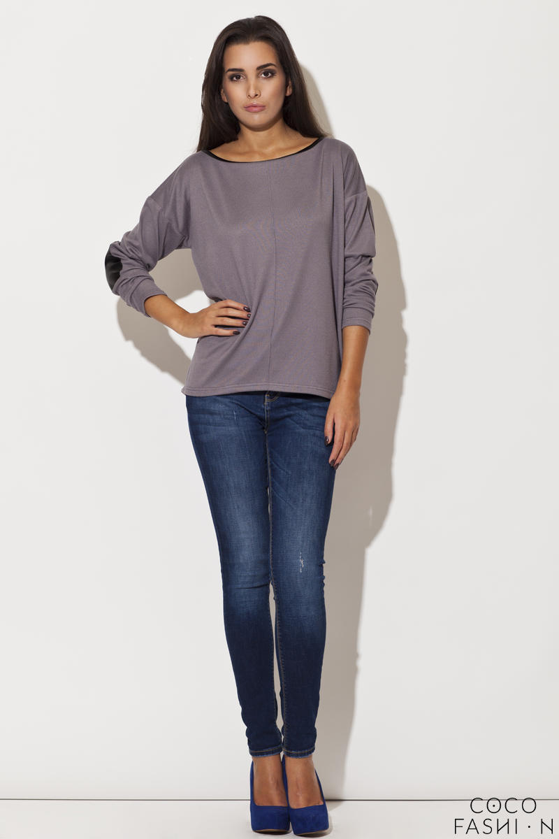 Drop Shoulder Elbow Patch Bateau Neck Grey Sweater