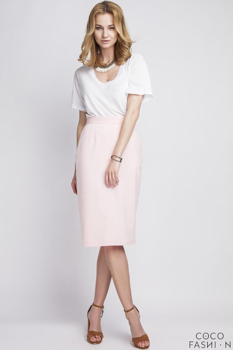 Pink Pencli High Waist Midi Skirt