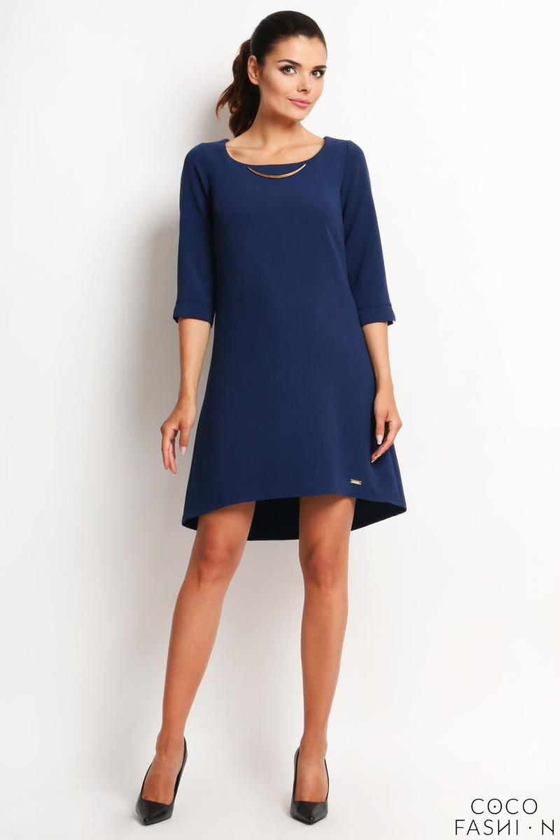 Navy Blue A-Line Asymetrical Longer Back Dress