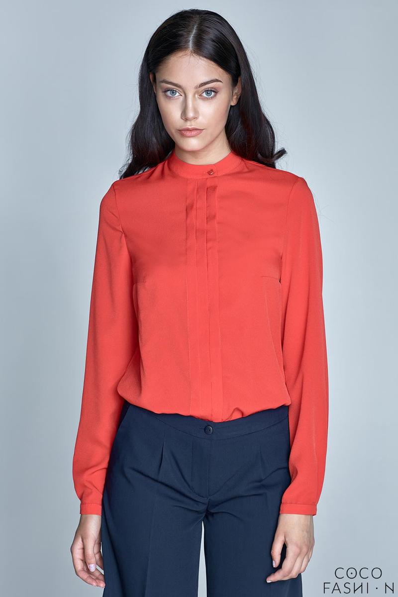 orange-long-sleeves-stand-up-collar-blouse