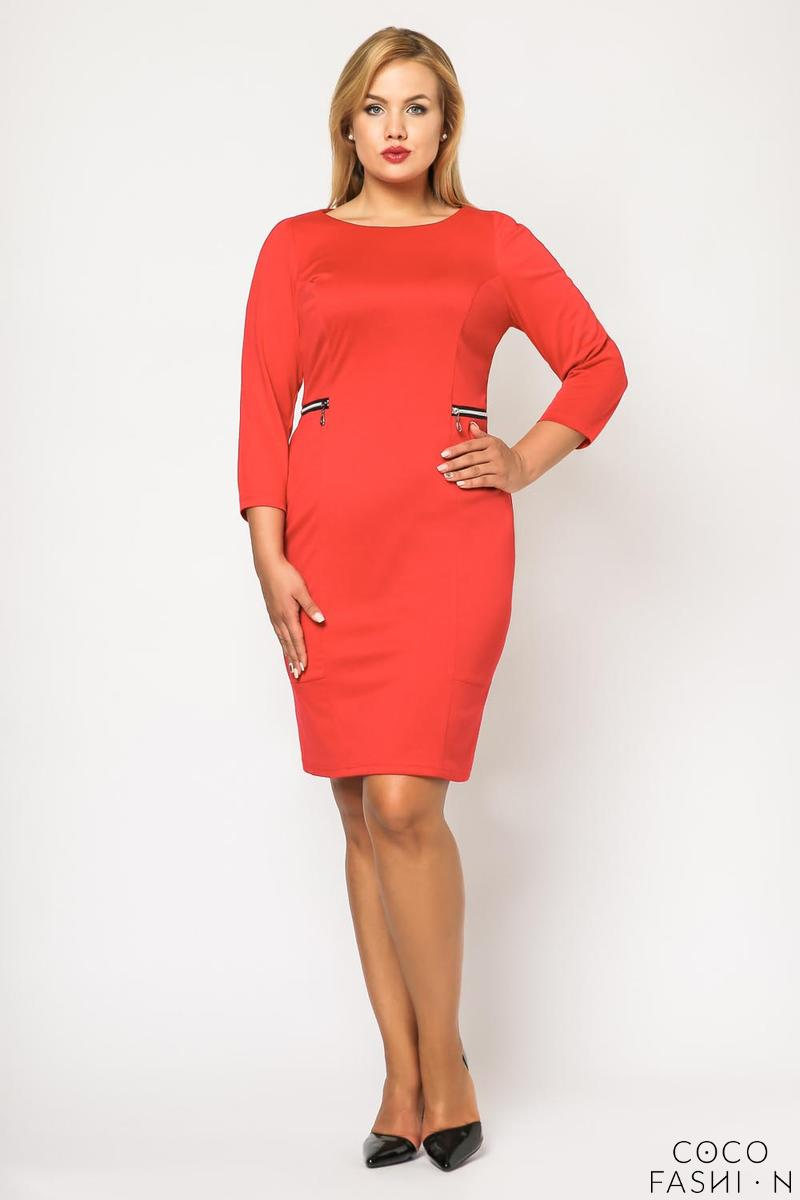 Red Classic 3/4 Sleeves Dress with Zips PLUS SIZE