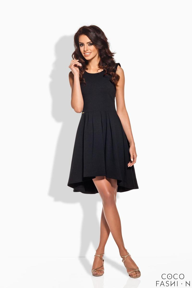 Black Dipped Hem Coctail Dress