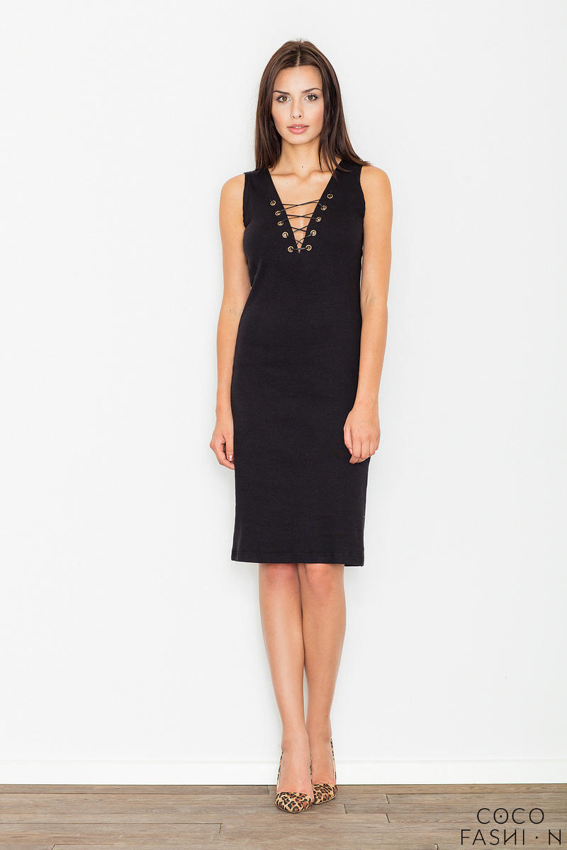 Black Bodycon Lace-up Midi Dress