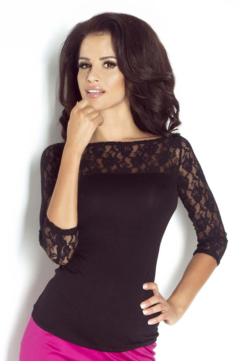 Black Slim Fit Lace Blouse