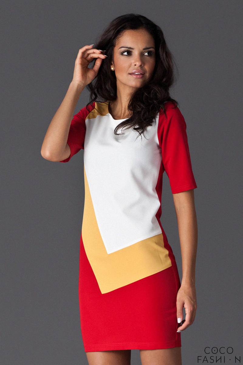 red-asymmetrical-color-block-shirt-dress