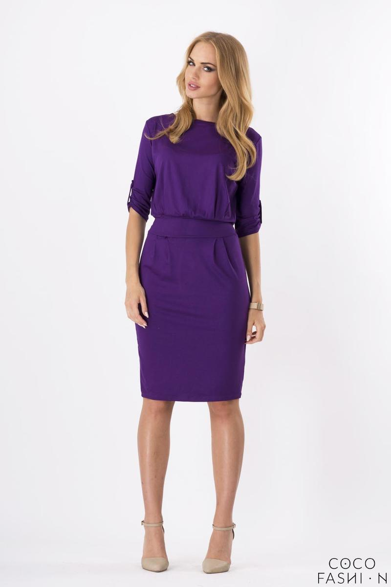 Purple Casual Self Tie Belt and Rolled-up Sleeves Dress