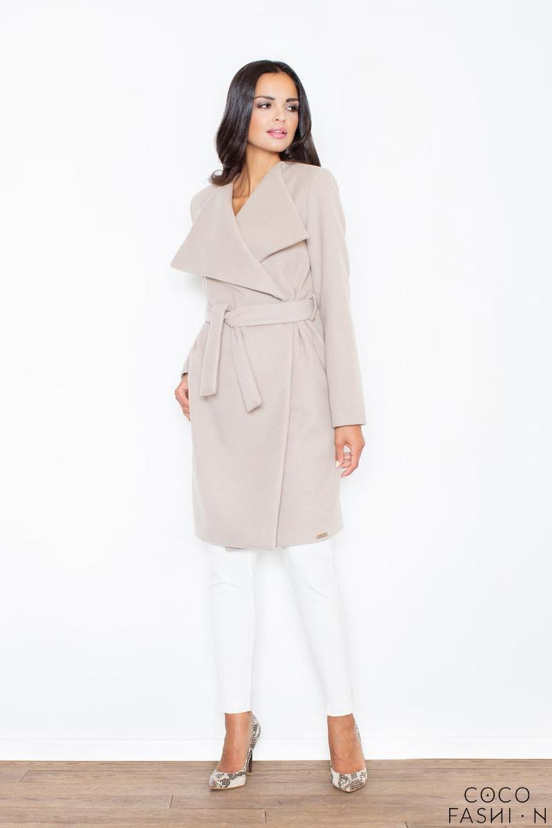 Beige Elegant Big Collar Self Tie Belt Coat