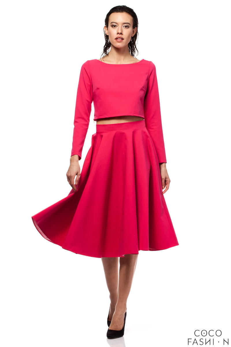 Deep Pink Pleated Midi Skirt with Back Zipper Fastening