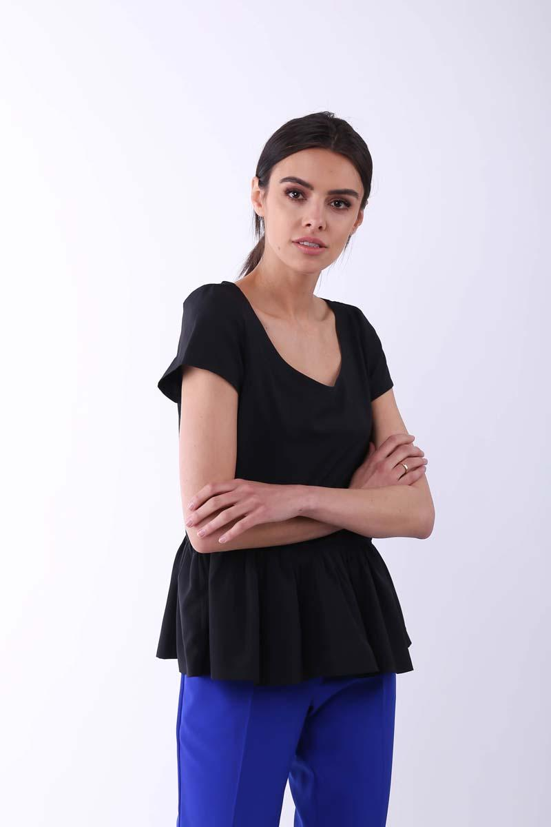 Black Blouse with a Frill at the Bottom