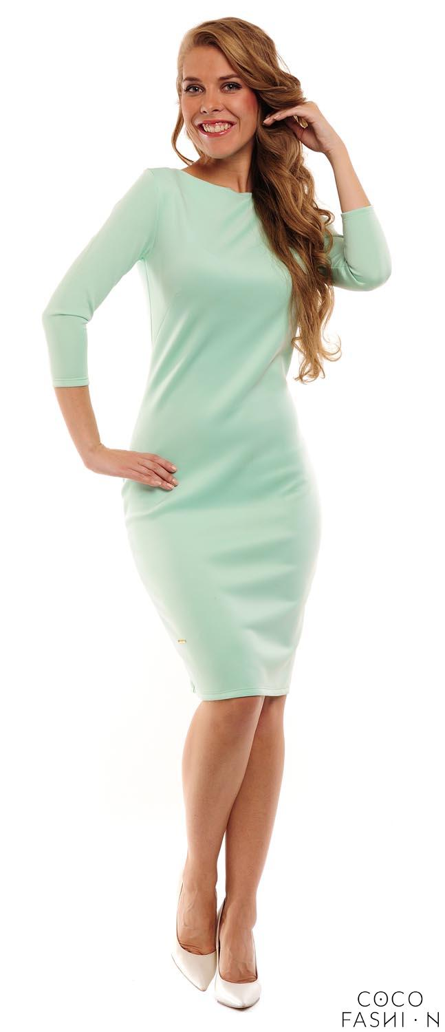 Mint Classic Plain 3/4 Sleeves Dress