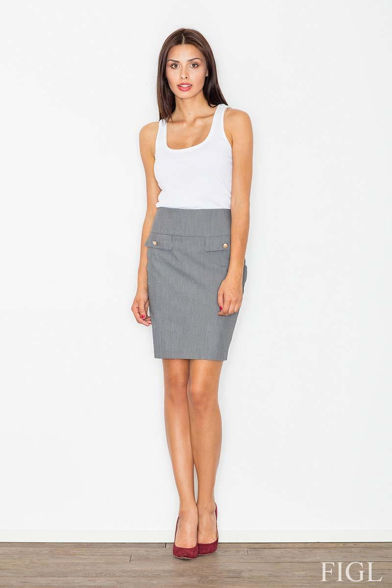 Grey Elegant Pencirt Skirt
