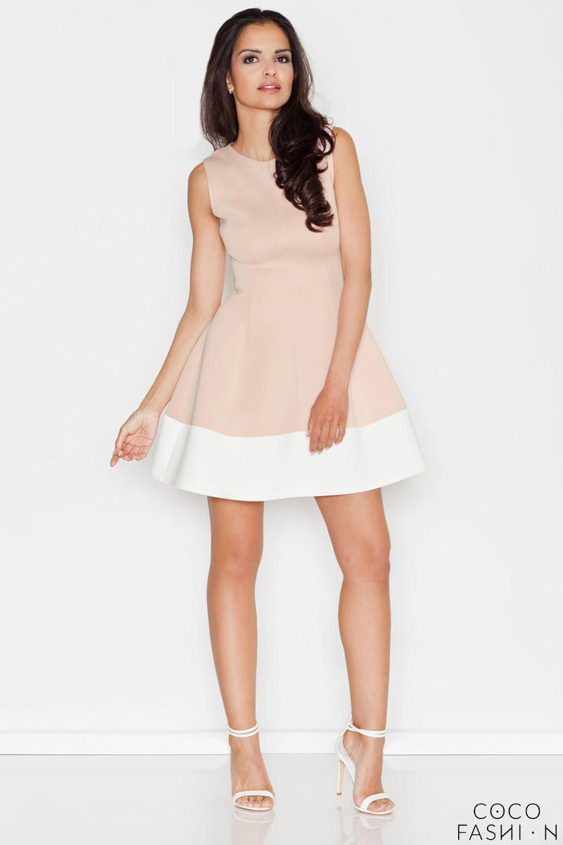 Beige Sleeveless Retro Style Mini Dress