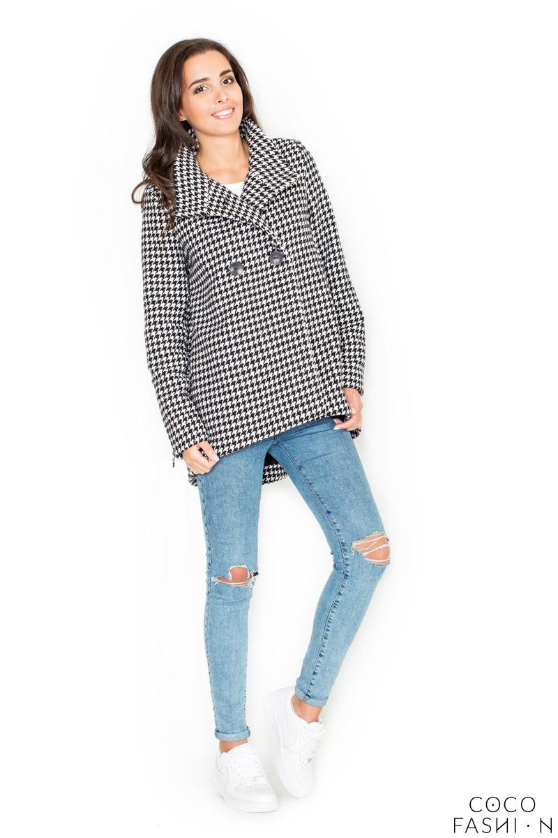 Houndstooth Short Fall/Spring Jacket with Zippers