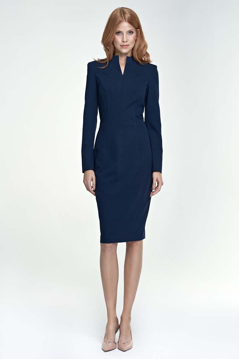 Dark Blue Elegant Pencil Dress with Stand-up Collar