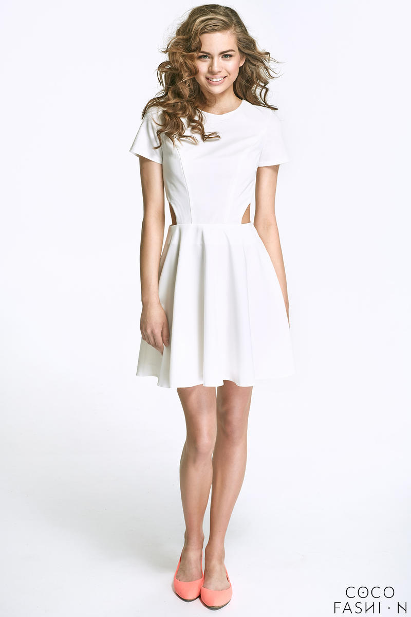 Ecru Flared Mini Dress with Cut out Sides