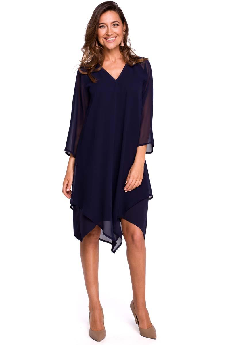 Navy Asymmetrical Double-layer Dress with a Bell Sleeve