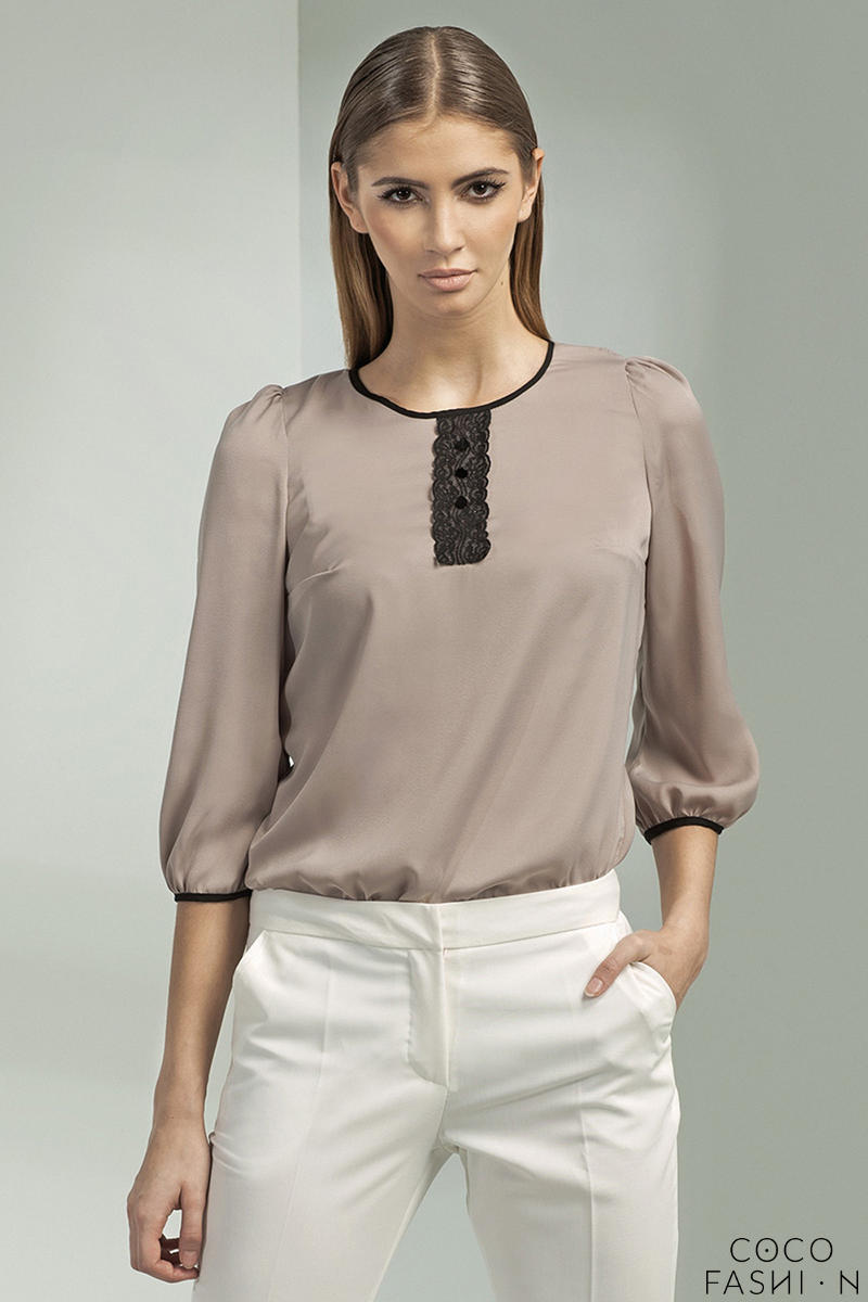 Beige Cleo Inspired Silky Sheer Blouse