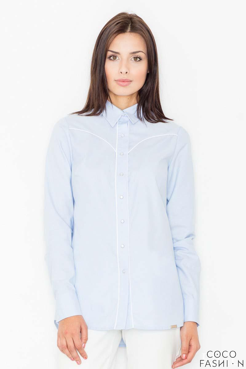 Light Blue Long Sleeved Shirt with Piping