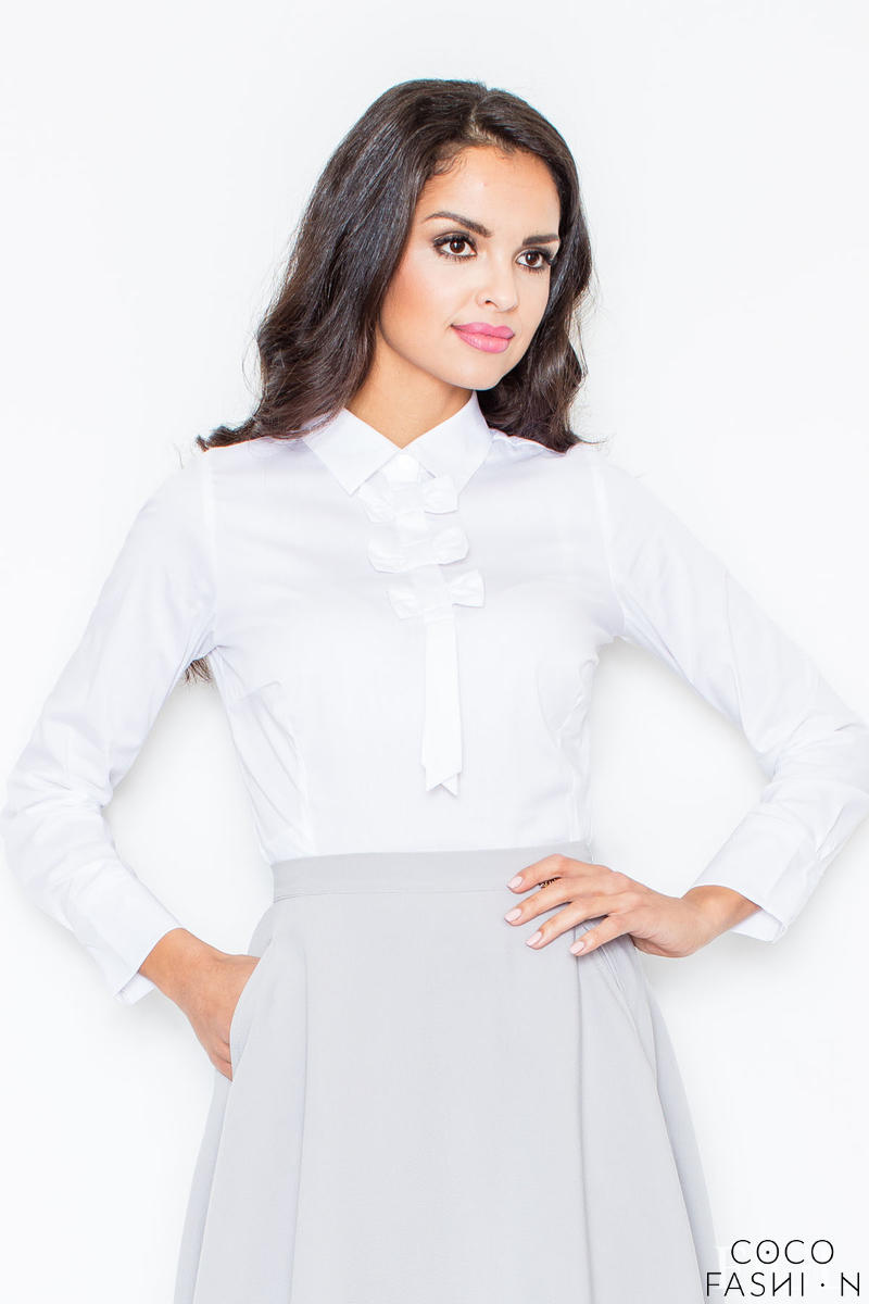 Petite Collared Vintage Bow Neck White Shirt