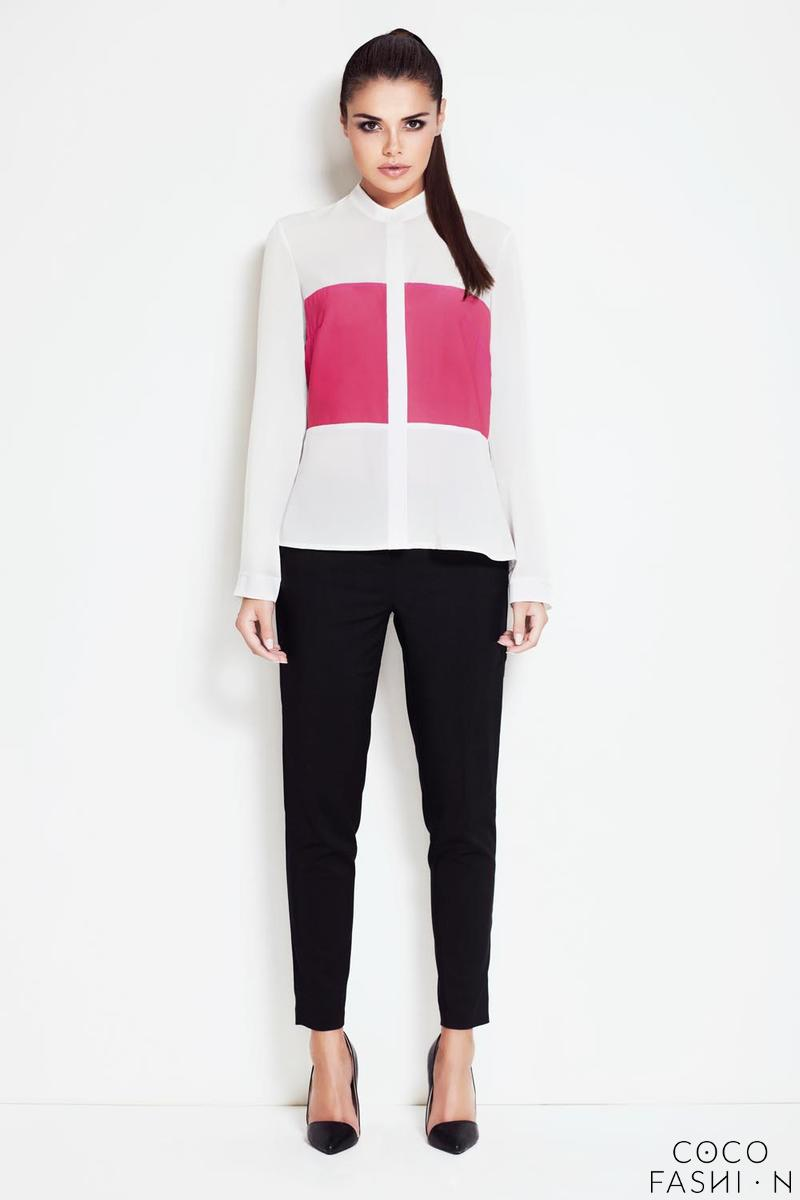 Ecru&Pink Rolled-up Sleeves Shirt