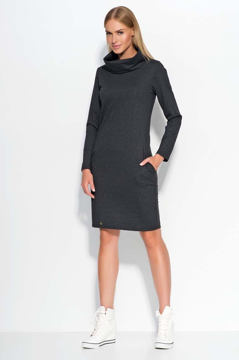 Dark Grey Casual Dress with Tourtleneck
