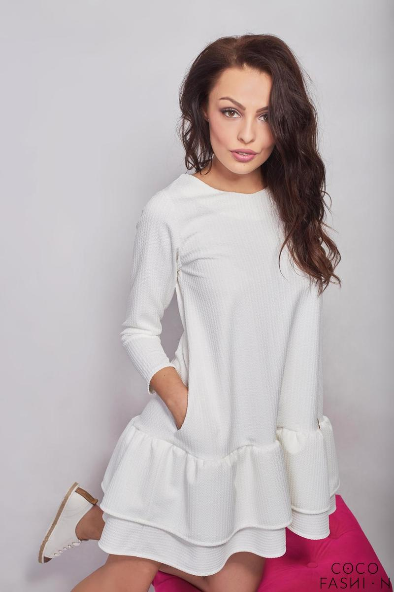 Ecru Girlish Romantic Style Dress with Frills&Pockets