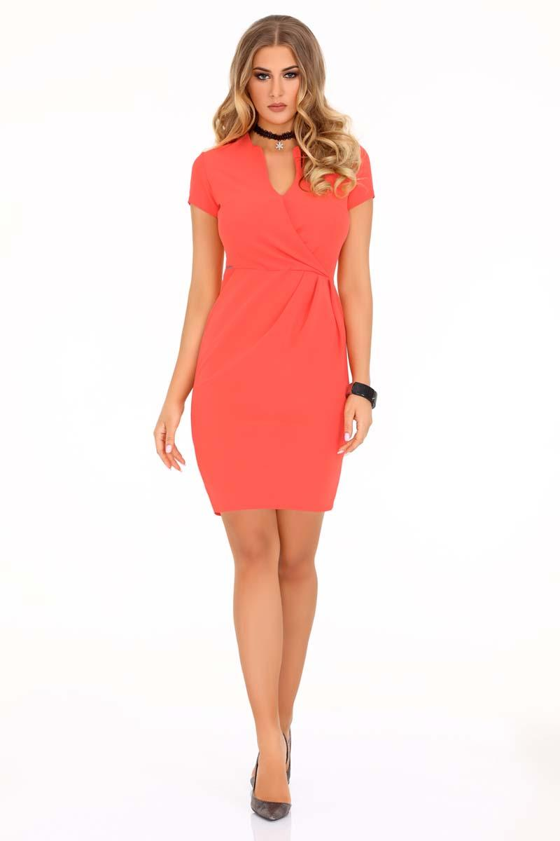 Coral Office Mini Dress V Neck