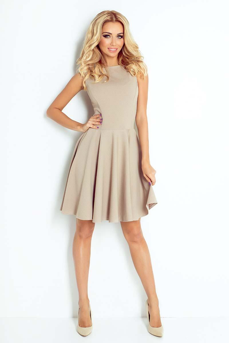 Beige Sleeveless Coctail Dress with Light Pleats