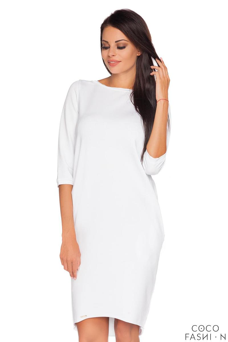 White Casual Dress with Cut Out Back and Self Tie Bow