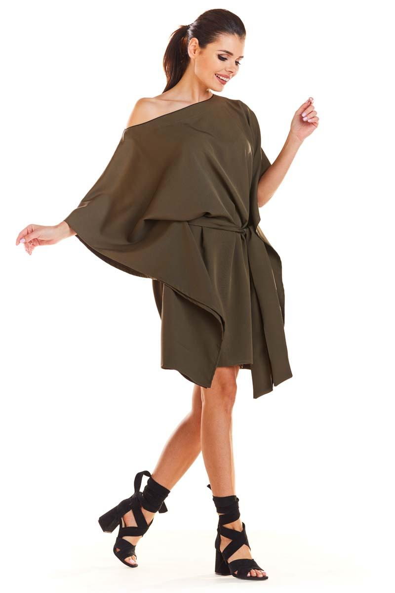 Khaki Kimono Dress with belt