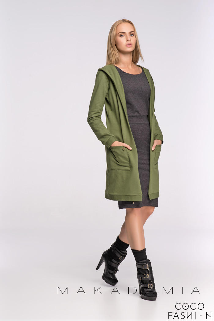 Khaki Long Hooded Cardigan with Pockets