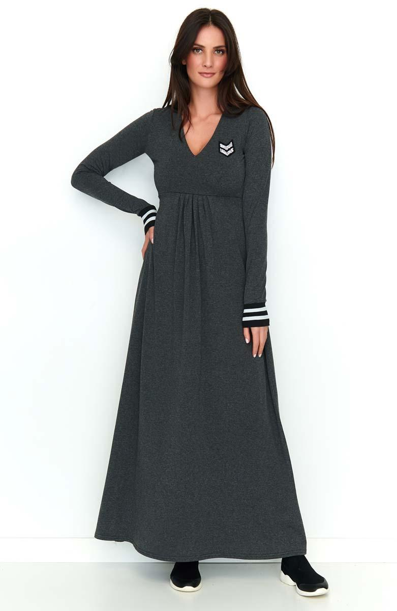 Graphite Long Knitted Dress in a Sporty Style
