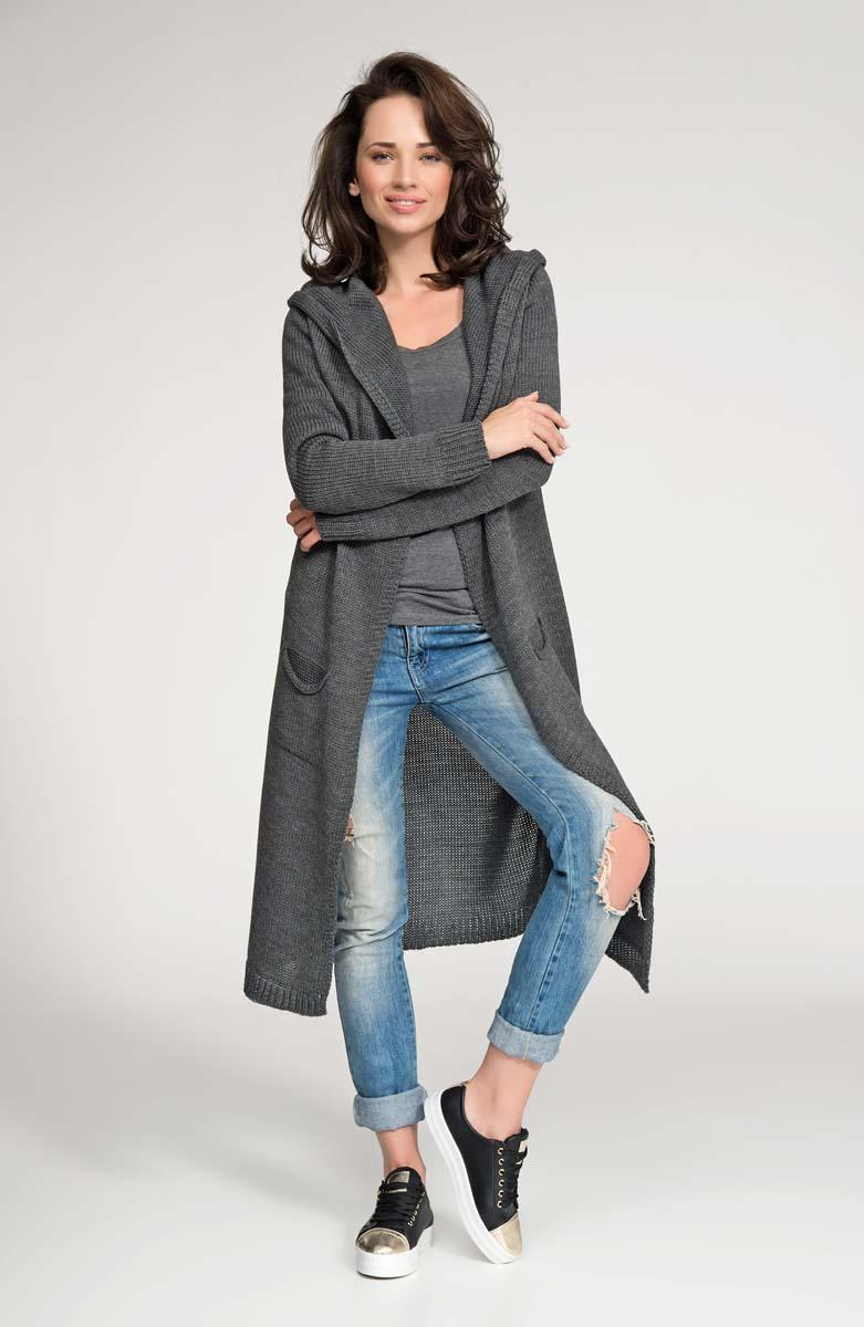 Dark Grey Hooded Maxi Sweater