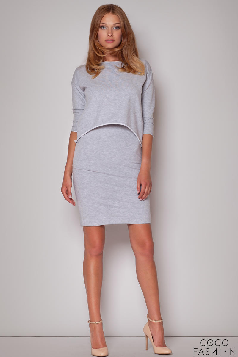 Subtle Flecked Overlay Grey Dress with Asymmetrical Top