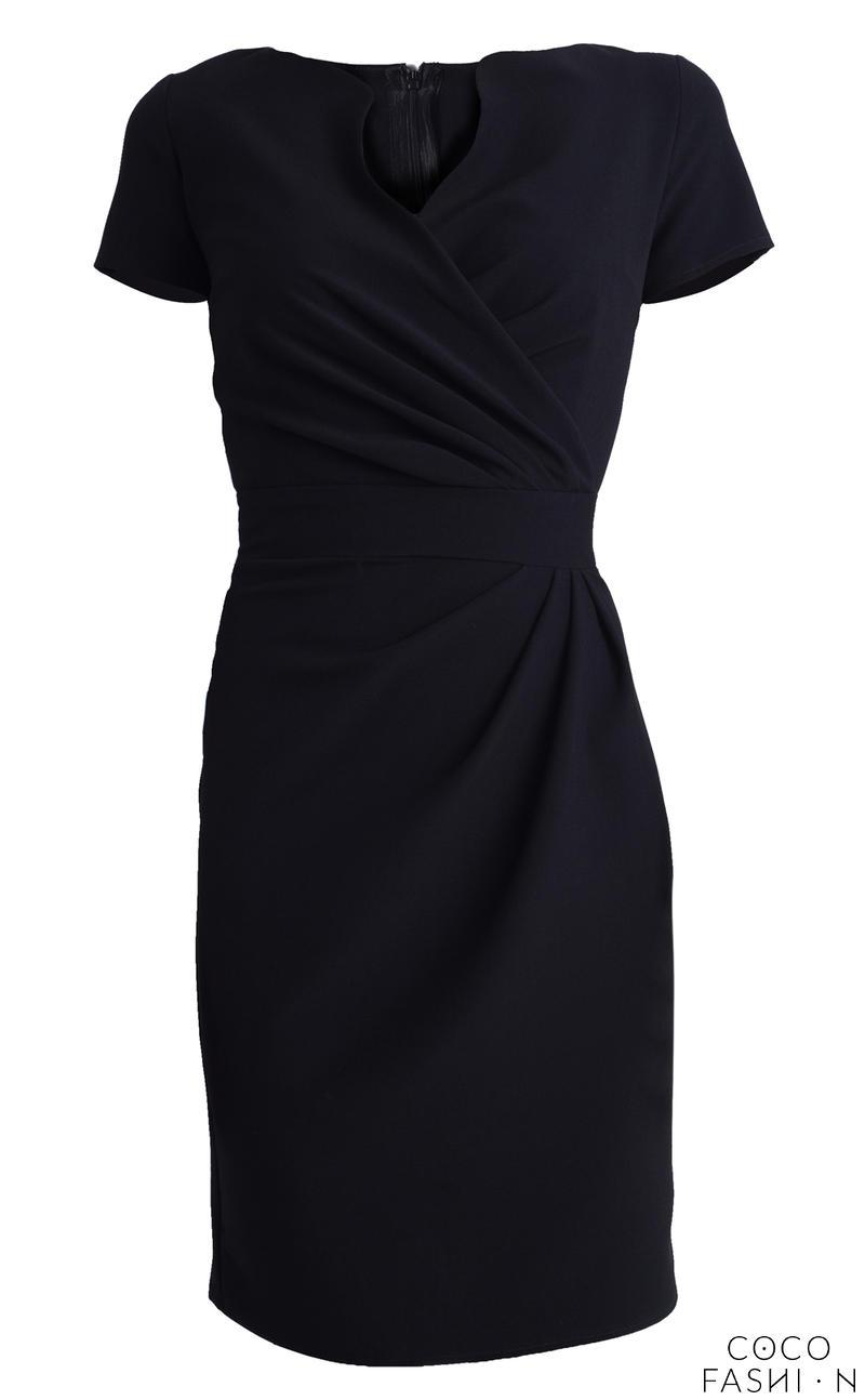 c2be7f7faacf Wrap Around Self Belted Sheath Black Dress